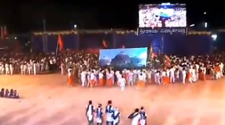 In a video from the event, several students were seen rushing towards the image of Babri Masjid, inside a map of India formed by students, to pounce on it and raze it.