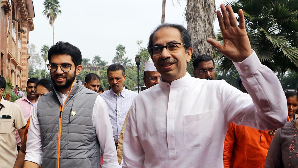 Maharashtra Chief Minister Uddhav Thackeray with his son Aditya Thackeray during the first day of the winter session of Maharashtra Assembly in Nagpur on Monday.