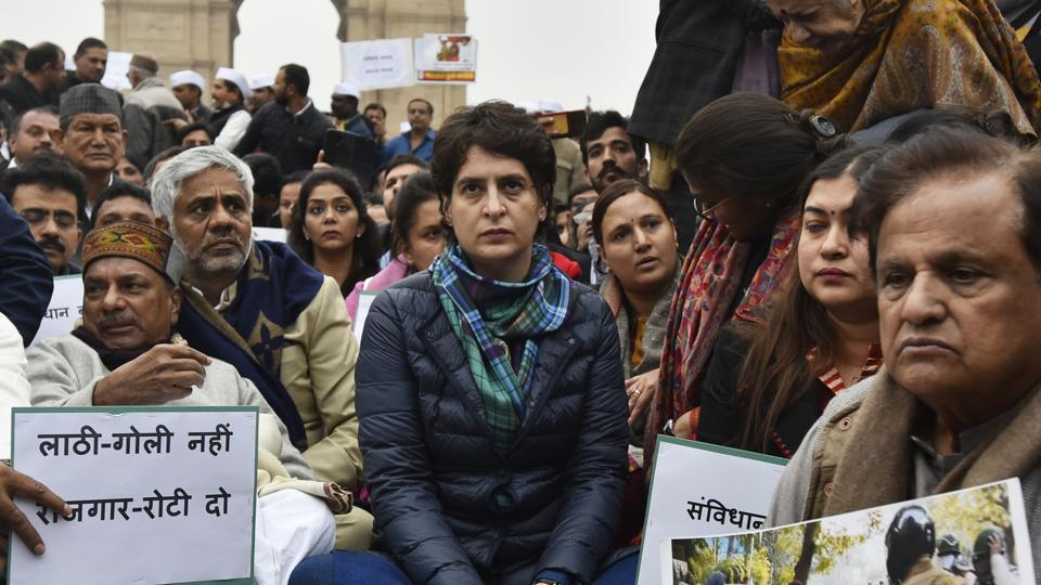 Congress leader Priyanka Gandhi Vadra holds a sit-in protest in a show of solidarity with the students from Jamia Millia Islamia and several other universities across the country protesting the contentious Citizenship Amendment Act, at India Gate, in New Delhi, on Monday, December 16, 2019.