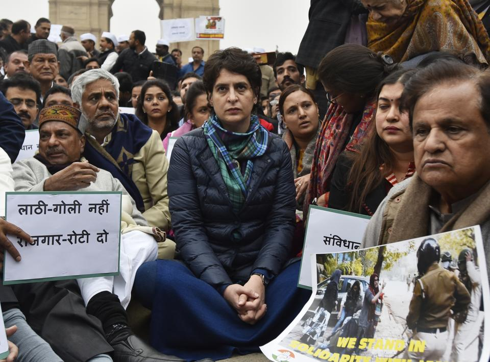 Congress leader Priyanka Gandhi Vadra at  a sit-in protest in a show of solidarity with the students from Jamia Millia Islamia and several other universities across the country protesting the contentious Citizenship Amendment Act, in New Delhi, on Monday, December 16, 2019.