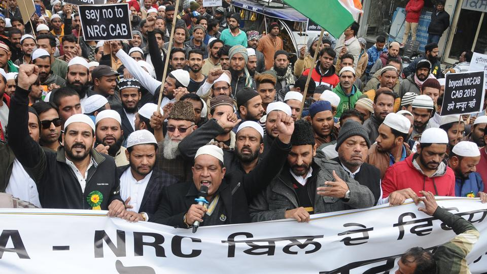 Members of Muslim communities holding protest against NRC, CAB and the Central government at Chandani Chowk in Patiala on Thursday.