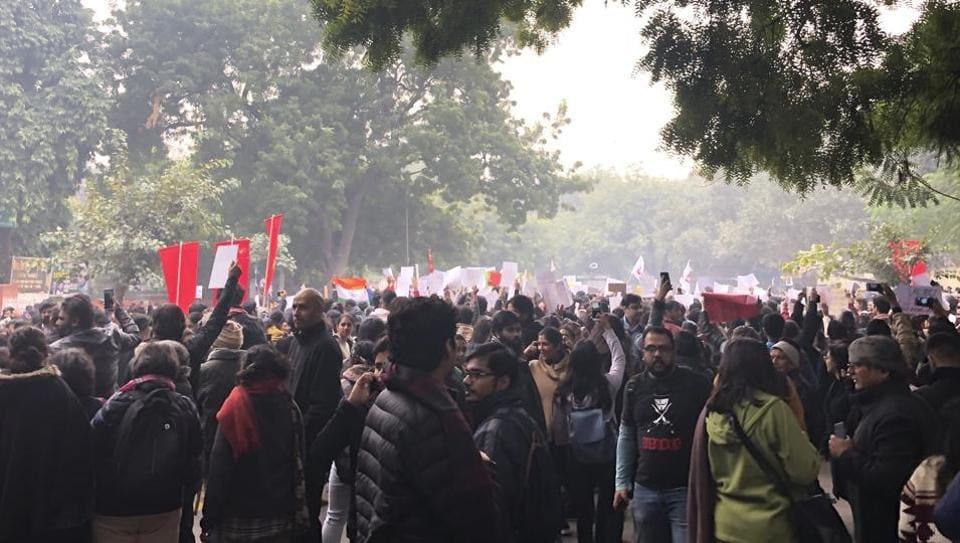Protestors gather at the landmark Jantar Mantar to protest against the Citizenship Amendment Act in New Delhi, India, Thursday, Dec. 19, 2019.