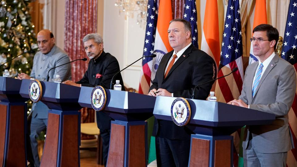 Defence Minisiter Rajnath Singh, External Affairs Minister Subrahmanyam Jaishankar, U.S. Secretary of State Mike Pompeo, and  Defense Secretary Mark Esper speak after the 2019 U.S.-India 2+2 Ministerial Dialogue at the State Department in Washington on Wednesday.