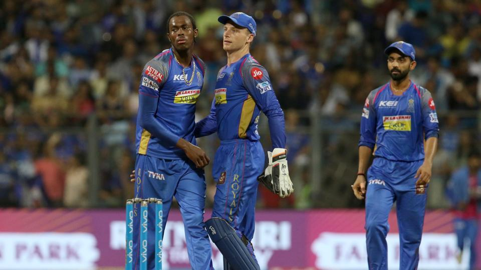 Jofra Archer of the Rajasthan Royals celebrates the wicket in IPL