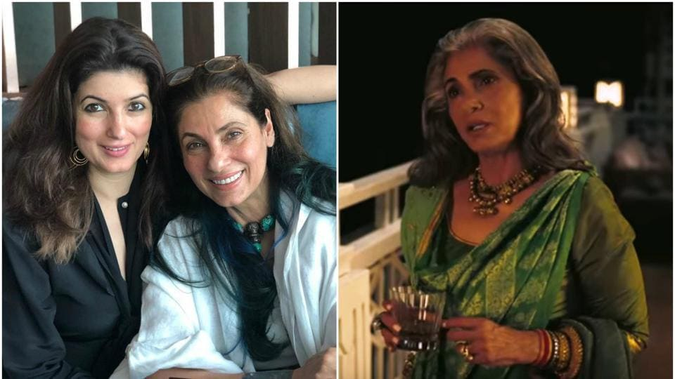 Dimple Kapadia with Twinkle Khanna (L) and in a still from Tenet