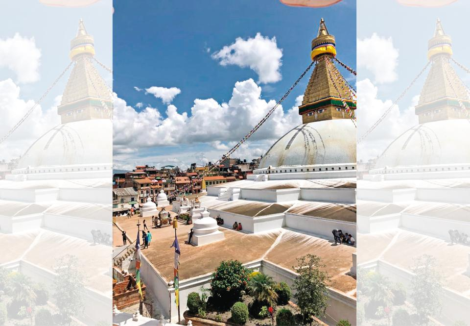 The glorious Boudhanath Stupa makes for a serene sight from one of the rooftop cafés that surround it