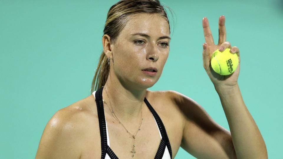 Maria Sharapova from Russia reacts in a match.
