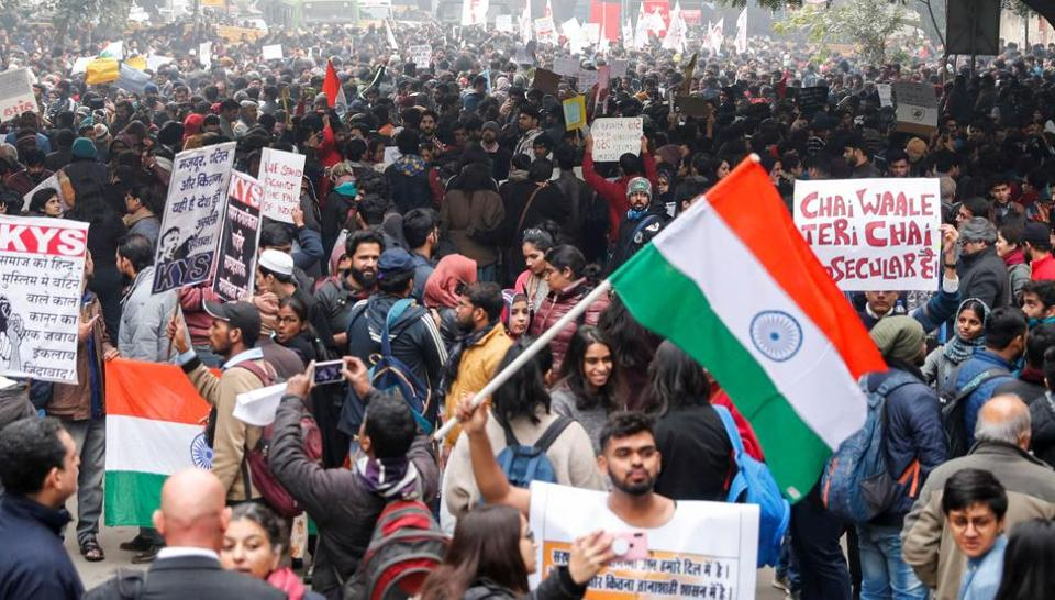 Demonstrators protest against the new citizenship law in Delhi, on December 19.