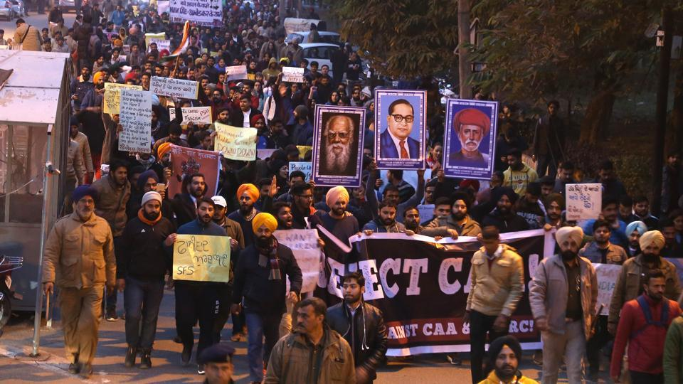 Joined by various citizen groups, hundreds of students took out a protest march against the Citizenship (Amendment) Act and National Register of Citizens in Chandigarh on Thursday. Starting from the Panjab University campus in Sector 14, the rally ended at the Plaza in Sector 17. The gathering also condemned the attack on students at Jamia Millia Islamia, Delhi.