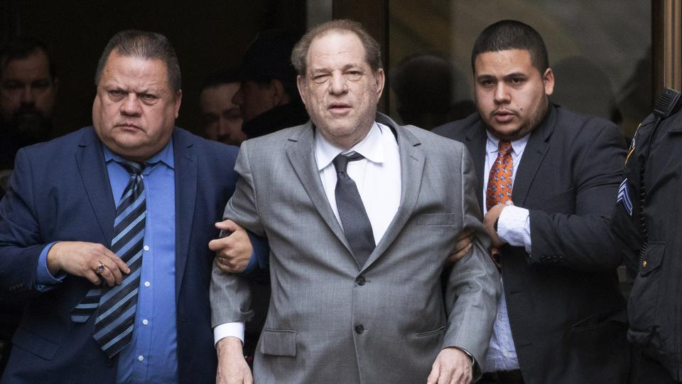 This Dec. 6, 2019 file photo shows Harvey Weinstein, center, leaving court following a bail hearing in New York.