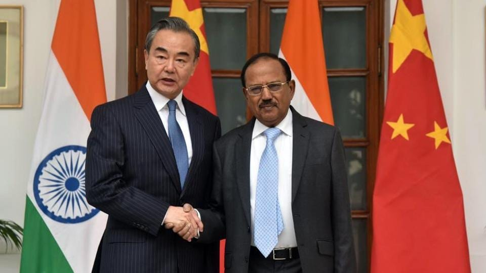 State Councillor and Foreign Minister Wang Yi meets National Security Advisor Ajit Doval, in New Delhi on Saturday.