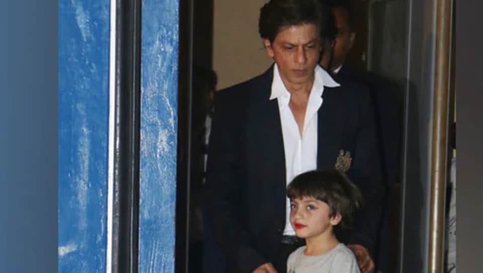 Shah Rukh Khan with son AbRam at his annual day function.