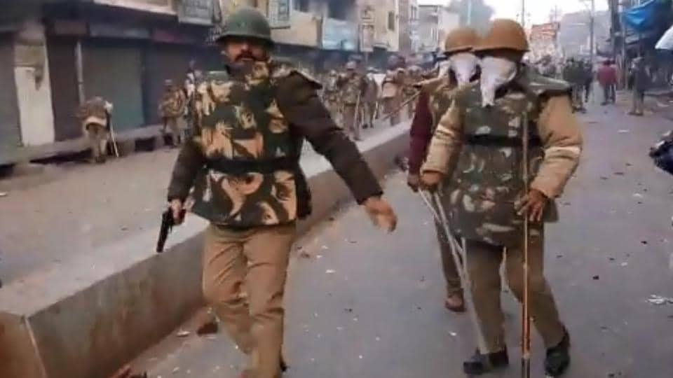 In the one-minute-37-second video, the policeman in riot gear is seen walking at the site of clashes with a revolver and his baton. He can be seen readying it and then walking to a corner and opening fire at protesters.