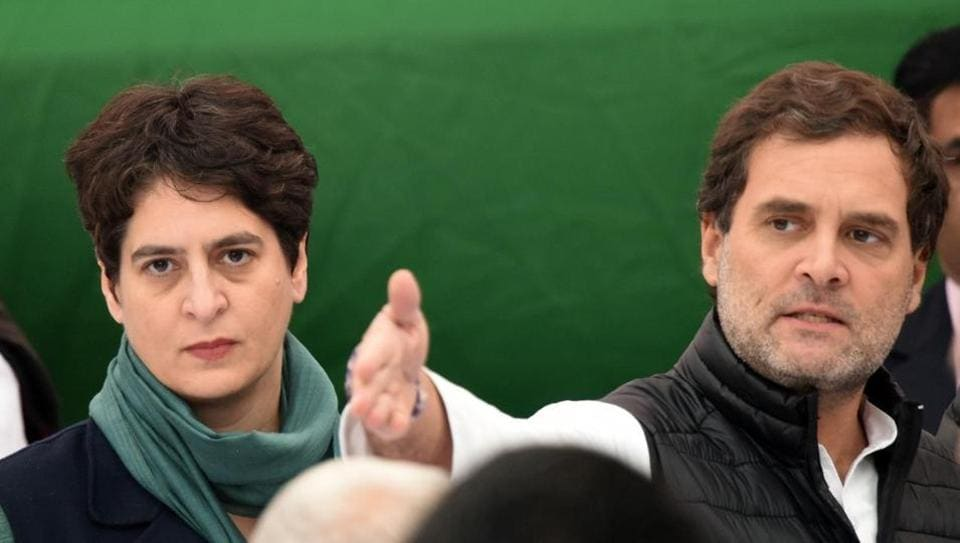 Rahul Gandhi attends the Congress party's protest at Rajghat in New Delhi on Monday.