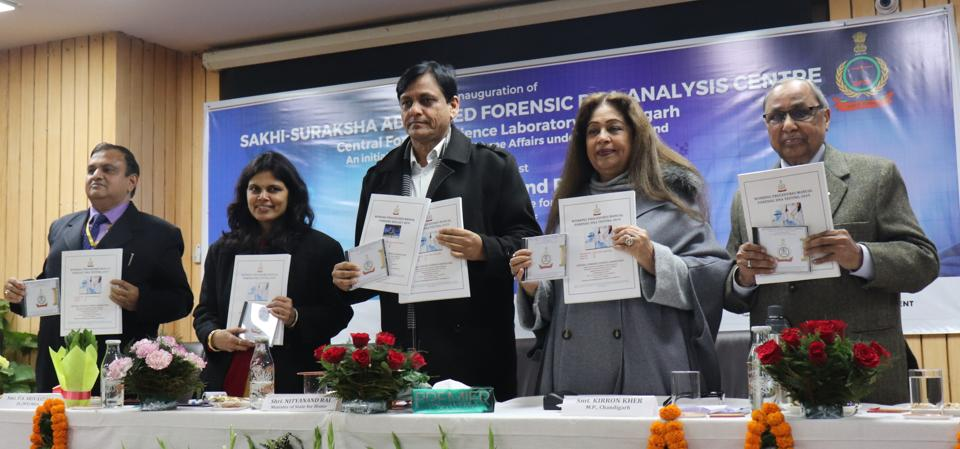(From left) Ministry of home affairs joint secretary PS Srivastava, minister of state for home affairs Nityanand Rai, Chandigarh MP Kirron Kher and Dr Balram K Gupta releasing quality manuals at the Central Forensic Science Laboratory in Sector 36, Chandigarh, on Monday.