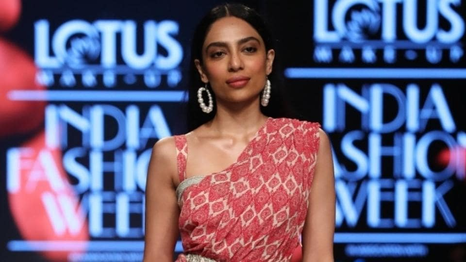 Sobhita Dhulipala showcases the creation of fashion designer Bhumika Sharma on the third day of Lotus Make-up India Fashion Week, in New Delhi.