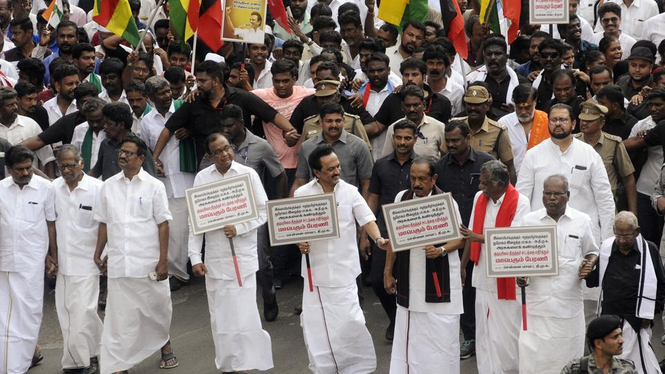 DMK chief MK Stalin, Congress leader P Chidambaram, Rajya Sabha MP Vaiko and senior leaders hold placards during a protest march against the Citizenship Amendment Act 2019 in Chennai on Monday.