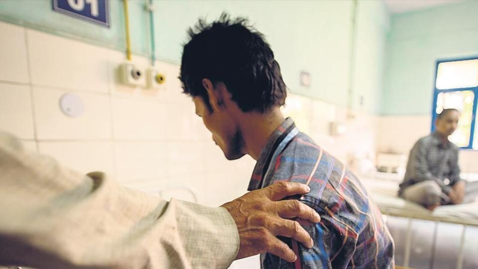 A schizophrenic patient at a ward of the Institute of Human Behaviour and Allied Science in New Delhi.