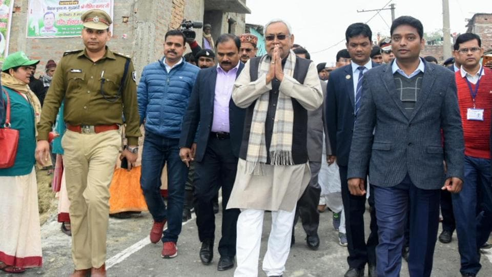 Bihar Chief Minister Nitish Kumar visits a village during statewide 'Jal-Jeevan-Hariyali Yatra' against climate crisis, in Sheohar, on Monday.