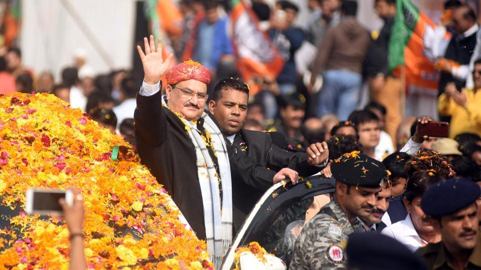 BJP working president JP Nadda waves to crowds during a rally in support of CAA and NRC in Indore on Sunday.