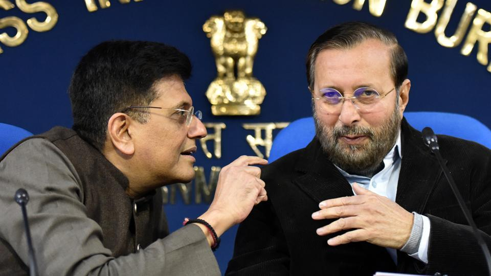 Union ministers Prakash Javadekar and Piyush Goyal brief the media on Cabinet decisions in New Delhi on Tuesday.