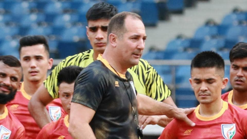 File image: Igor Stimac, head coach of India, gives instruction to his team.