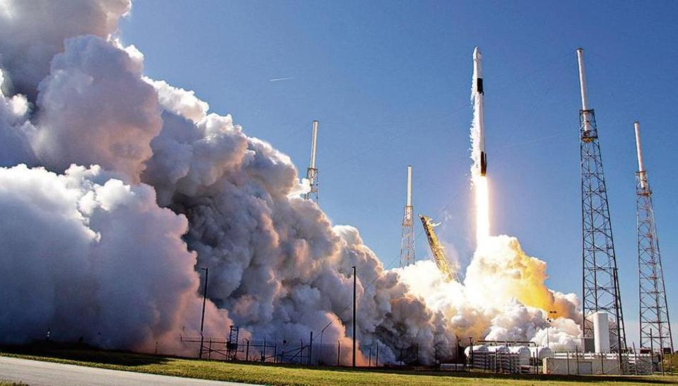 A Falcon 9 SpaceX rocket on a resupply mission to the International Space Station lifts off from Space Launch Complex 40 at Cape Canaveral Air Force Station in Cape Canaveral, Florida, on December 5, 2019.