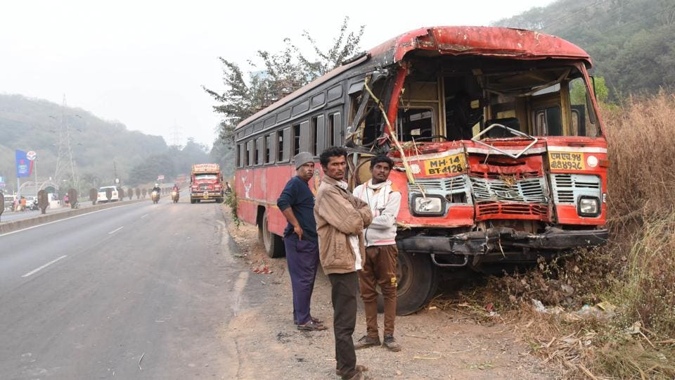 Nine schoolchildren, two teachers and one helper were travelling in the bus. (In pic) The mangled remains of the state transport bus after it collided with a tractor on Pune-Mumbai Highway.