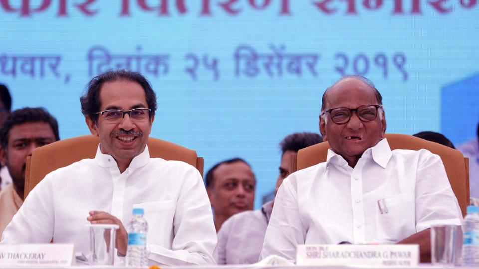 Chief minister Uddhav Thackeray and former union minister Sharad Pawar at Vasantdada Sugar Institute on Wednesday.