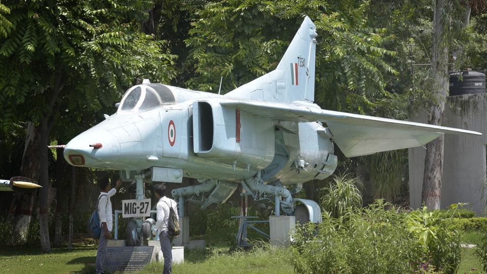 Fighter planes MIG 27 displayed at Maharaja Ranjit Singh War Museum in Ludhiana.