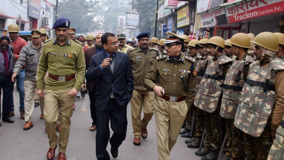 Senior police officers conducting a march as a security measure in Varanasi on Dec 26, 2019. (ANI Photo)
