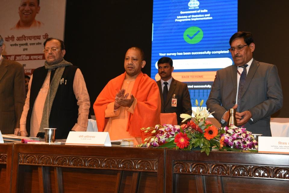 UPchief minister Yogi Adityanath at the launch of the 7th Economic Census in Lucknow on Thursday.