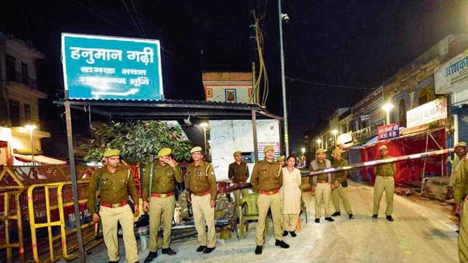 Police at the site in Ayodhya on November 8.