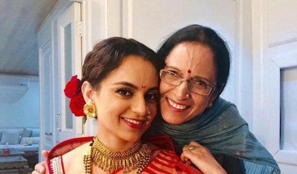 Kangana Ranaut poses with mom Asha.