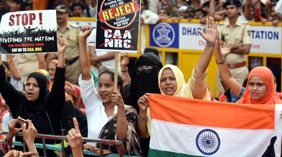 Protesters raise slogans during a demonstration against the Citizenship Amendment Act and NRC, in Dharavi, on December 22.