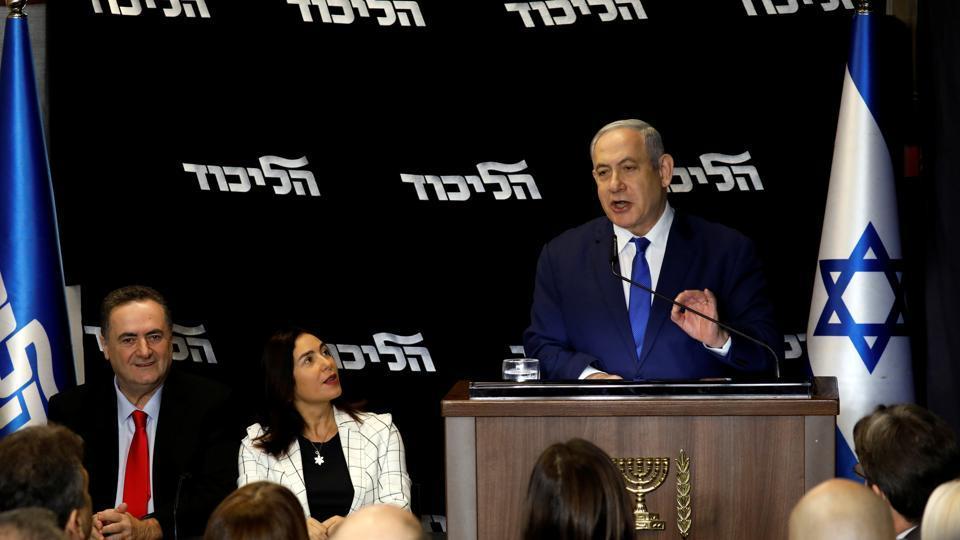 Israeli Prime Minister Benjamin Netanyahu addresses the media in Airport City near Tel Aviv.