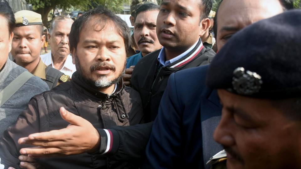 Krishak Mukti Sangram Samiti (KMSS) advisor Akhil Gogoi being produced in an NIA court in Guwahati on Thursday.