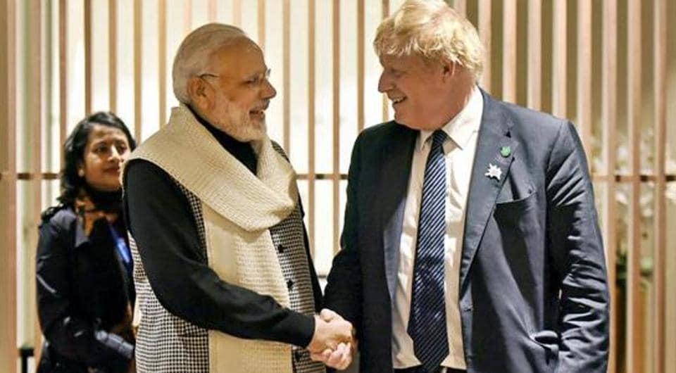 Prime Minister Narendra Modi with his British counterpart Boris Johnson
