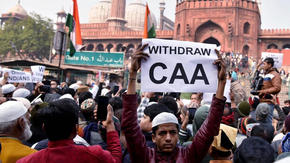 Hundreds of protesters gathered outside the Jama Masjid in Old City area, and raised slogans against the new legislation and the proposed National Register of Citizens (NRC) onDec 27, 2019. (ANI Photo)