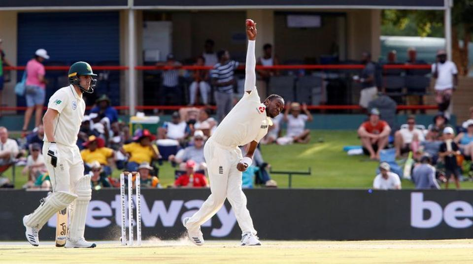 England's Jofra Archer in action.