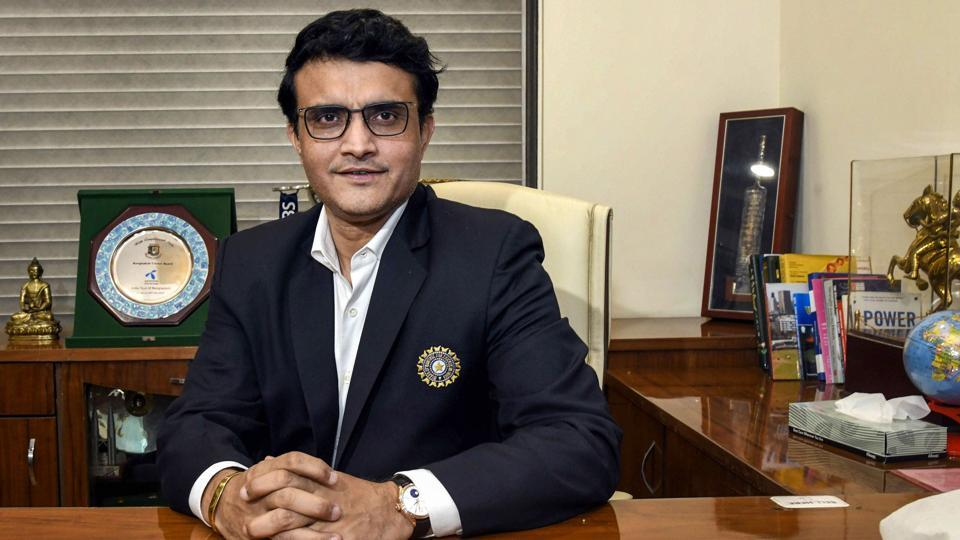 Sourav Ganguly poses for a photograph after taking charge as the new BCCI President at BCCI headquarters, in Mumbai.
