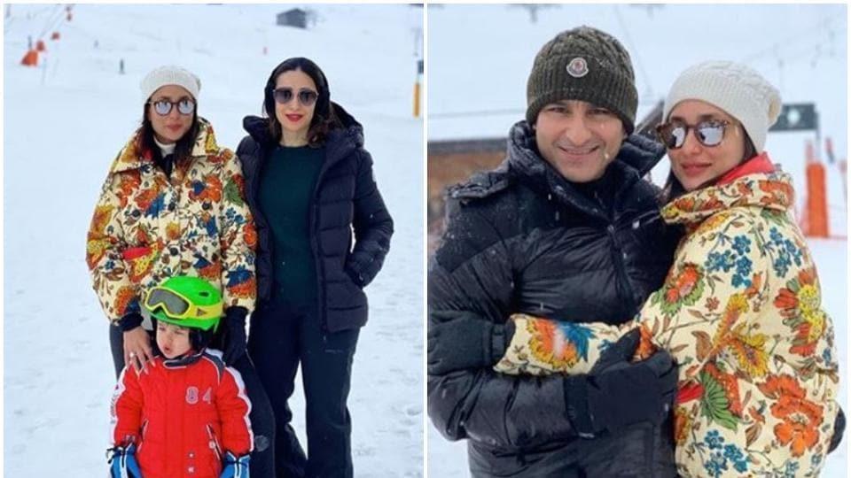 Kareena Kapoor with Saif AliKhan, Taimur AliKhan and Karisma Kapoor in Switzerland.