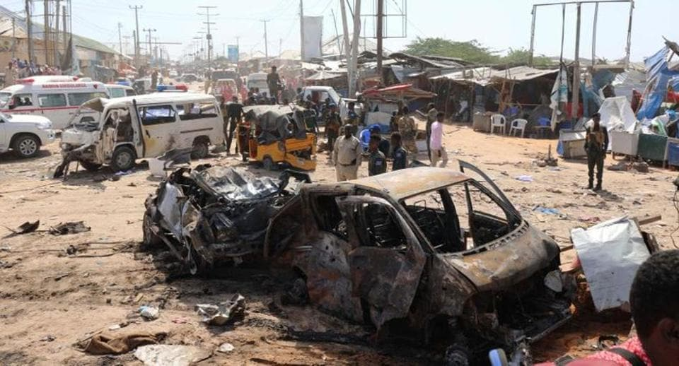 A general view shows the scene of a car bomb explosion at a checkpoint in Mogadishu, Somalia December 28, 2019