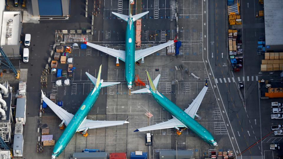 An aerial photo shows Boeing 737 MAX airplanes parked on the tarmac at the Boeing Factory in Renton, Washington, U.S.