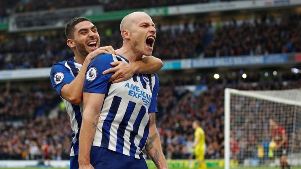 Brighton & Hove Albion's Aaron Mooy celebrates scoring their second goal.