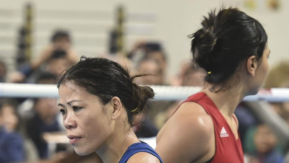 New Delhi: Boxer Mary Kom during her bout against Nikhat Zareen in the 51kg category finals of the women's boxing trials for Olympics 2020 qualifiers, in New Delhi.