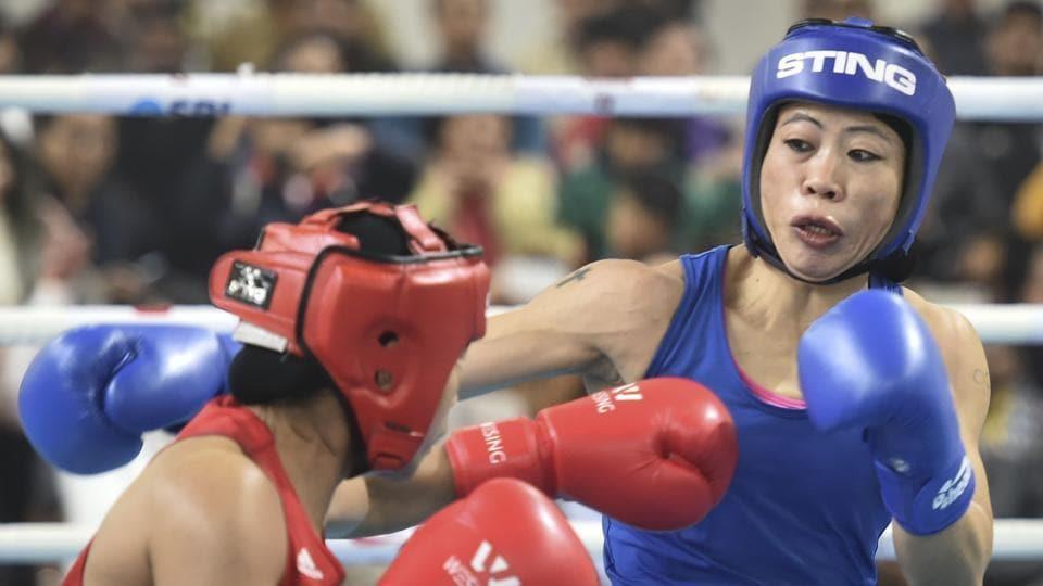 New Delhi: Boxer Mary Kom during her bout against Nikhat Zareen.