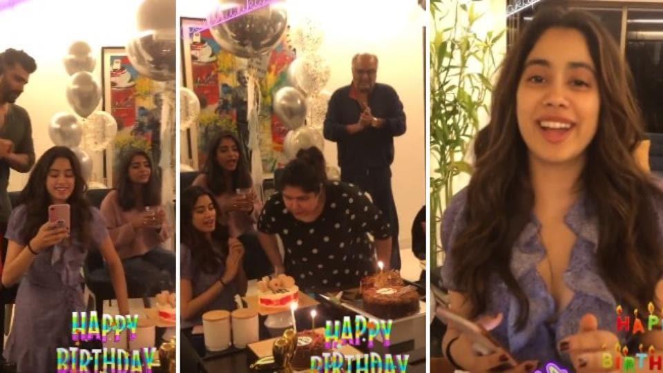 Janhvi Kapoor, ArjunKapoor,Khushi and BoneyKapoor at Anshula's birthday party.