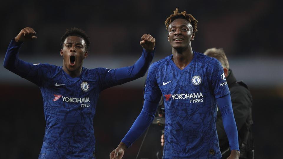 Chelsea's Tammy Abraham, right, celebrates with his teammate Callum Hudson-Odoi .
