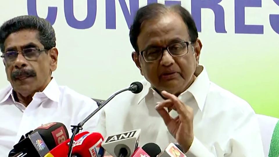 Former Finance Minister and Congress leader P Chidambaram addresses media in Thiruvananthapuram on Saturday